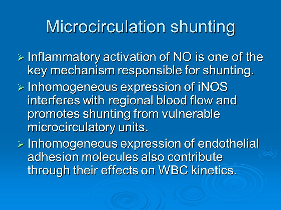 Microcirculation shunting  Inflammatory activation of NO is one of the key mechanism responsible for shunting.  Inhomogeneous expression of iNOS int