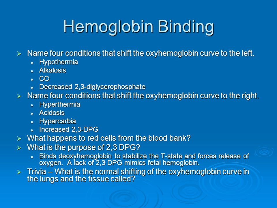 Hemoglobin Binding  Name four conditions that shift the oxyhemoglobin curve to the left. Hypothermia Hypothermia Alkalosis Alkalosis CO CO Decreased