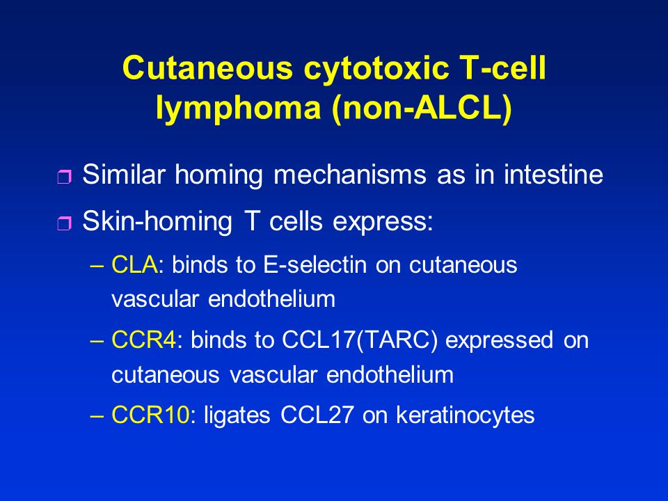 Cutaneous cytotoxic T-cell lymphoma (non-ALCL) r Similar homing mechanisms as in intestine r Skin-homing T cells express: –CLA: binds to E-selectin on cutaneous vascular endothelium –CCR4: binds to CCL17(TARC) expressed on cutaneous vascular endothelium –CCR10: ligates CCL27 on keratinocytes
