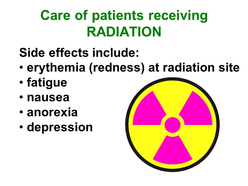 Care of patients receiving RADIATION Side effects include: erythemia (redness) at radiation site fatigue nausea anorexia depression