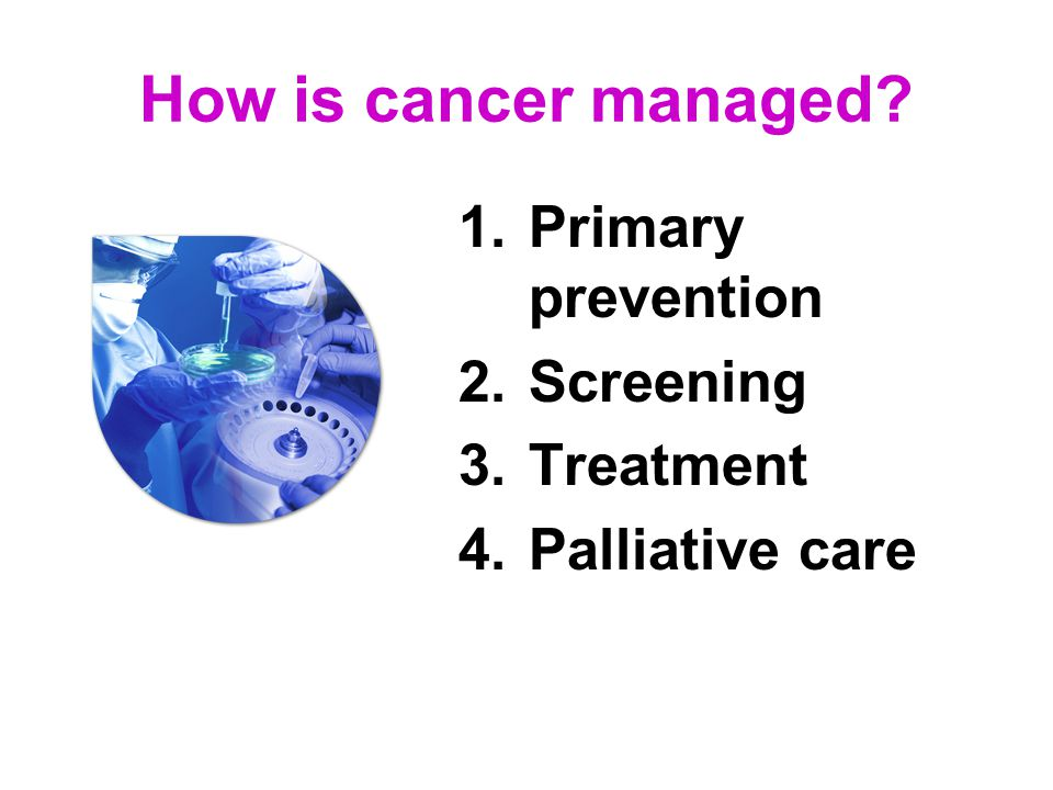 How is cancer managed 1.Primary prevention 2.Screening 3.Treatment 4.Palliative care
