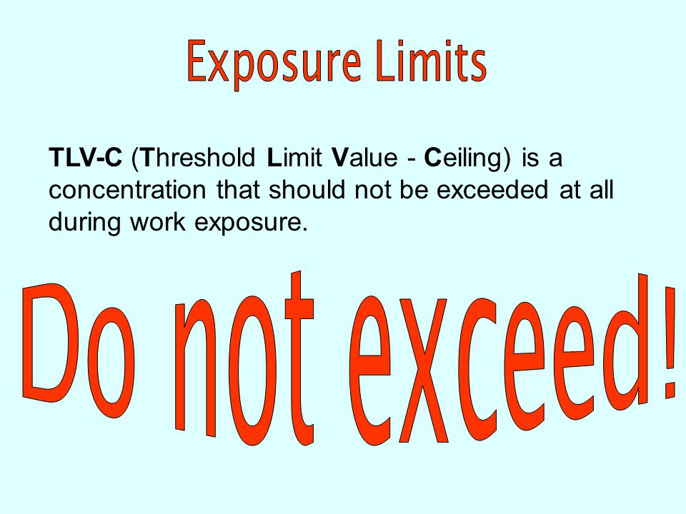 TLV-STEL (Threshold Limit Value - Short Term Exposure Limit) is the concentration to which workers may be exposed for a short time (usually 15 minutes) without suffering from irritation, long-term or irreversible tissue damage or impairment likely to increase accidental injury, affect self- rescue or reduce work efficiency.