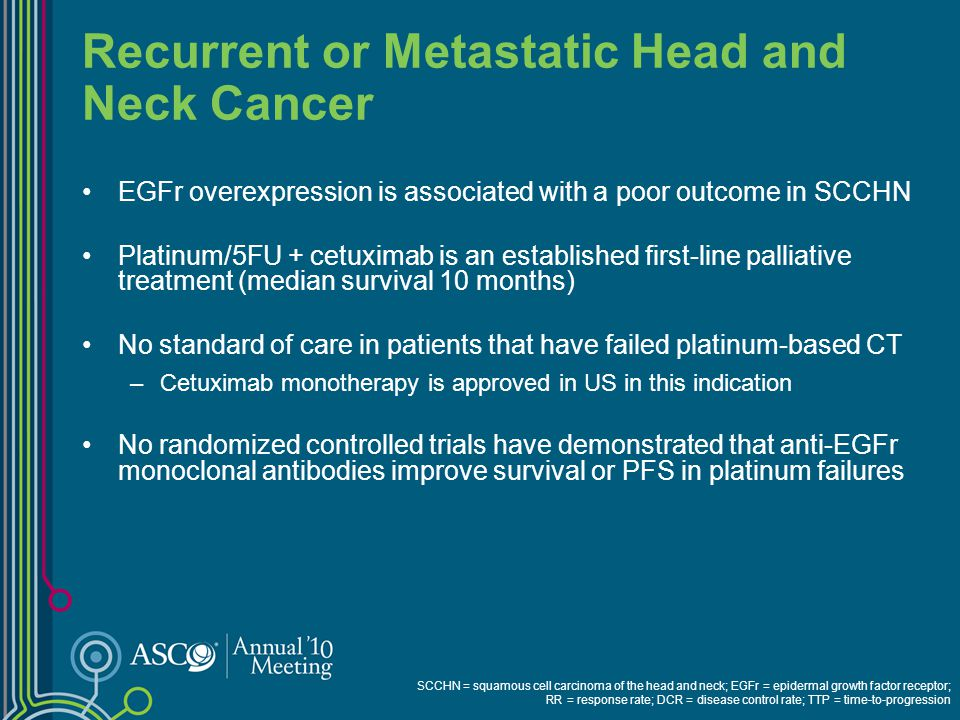 Recurrent or Metastatic Head and Neck Cancer EGFr overexpression is associated with a poor outcome in SCCHN Platinum/5FU + cetuximab is an established