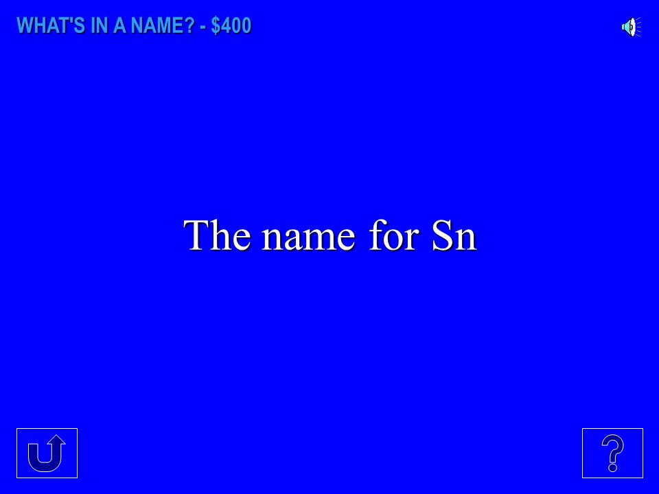 WHAT'S IN A NAME? - $300 The name for Ag