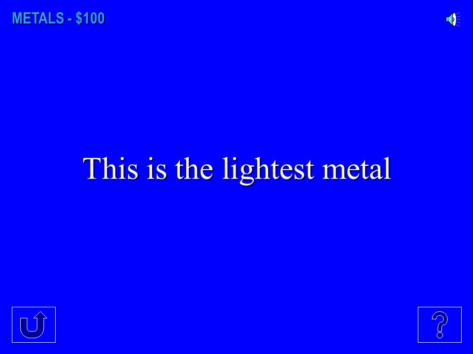 METALS NON- METALS GASES WHAT'S IN A NAME? MISC. ELEMENTS $100 $300 $200 $400 $500 $