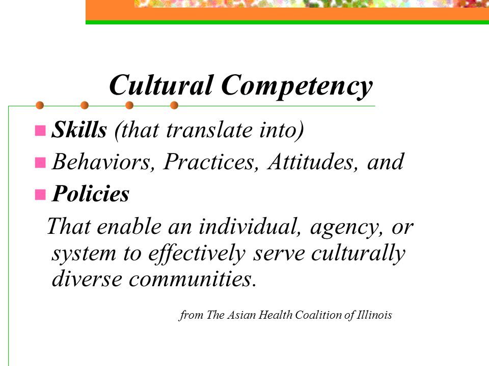 Cultural Competency Skills (that translate into) Behaviors, Practices, Attitudes, and Policies That enable an individual, agency, or system to effectively serve culturally diverse communities.