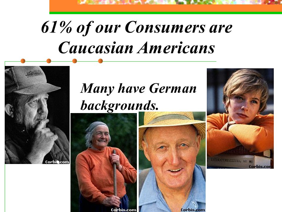 61% of our Consumers are Caucasian Americans Many have German backgrounds.