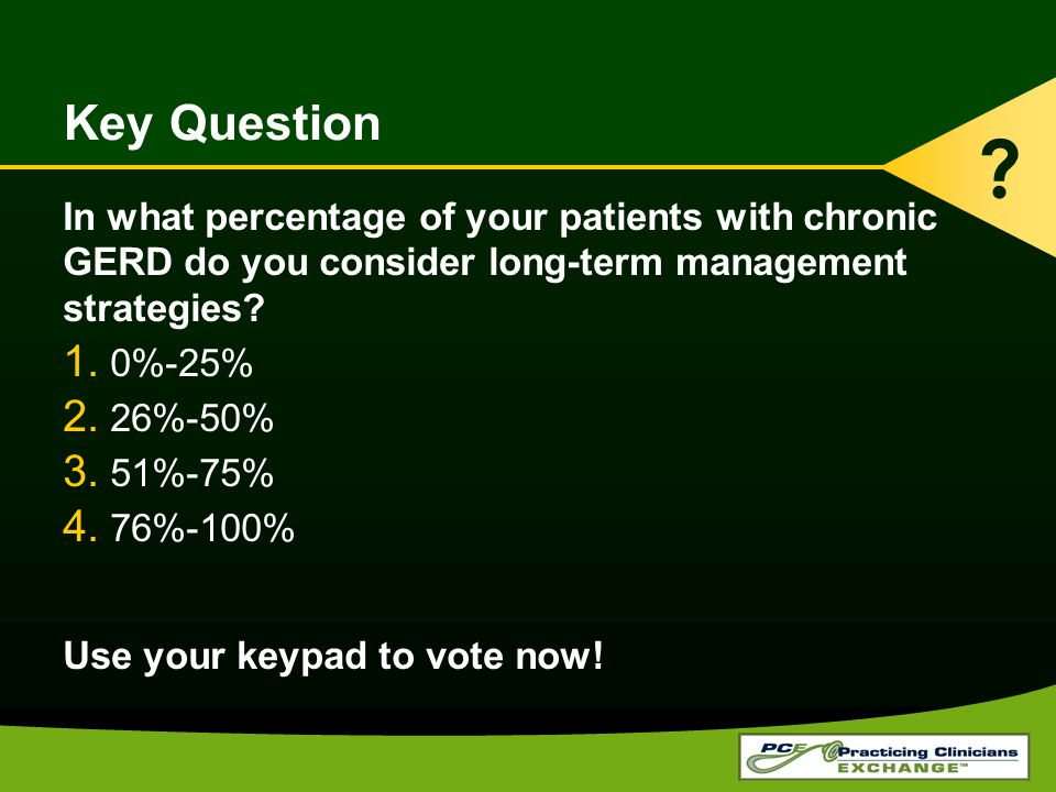 Key Question In what percentage of your patients with chronic GERD do you consider long-term management strategies.