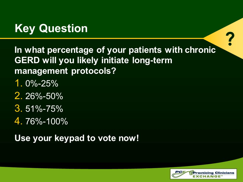 Key Question In what percentage of your patients with chronic GERD will you likely initiate long-term management protocols.
