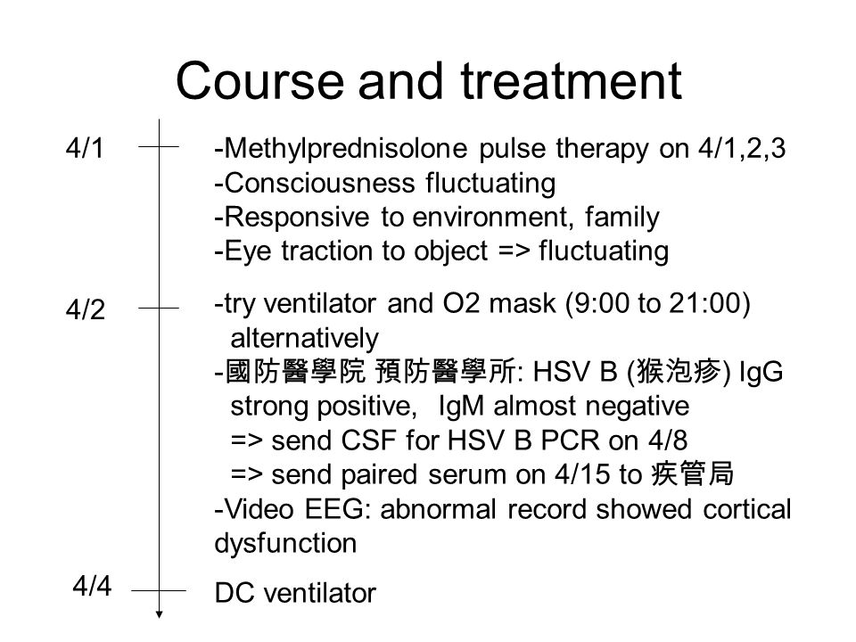 Course and treatment 4/1-Methylprednisolone pulse therapy on 4/1,2,3 -Consciousness fluctuating -Responsive to environment, family -Eye traction to object => fluctuating 4/2 -try ventilator and O2 mask (9:00 to 21:00) alternatively - 國防醫學院 預防醫學所 : HSV B ( 猴泡疹 ) IgG strong positive, IgM almost negative => send CSF for HSV B PCR on 4/8 => send paired serum on 4/15 to 疾管局 -Video EEG: abnormal record showed cortical dysfunction 4/4 DC ventilator