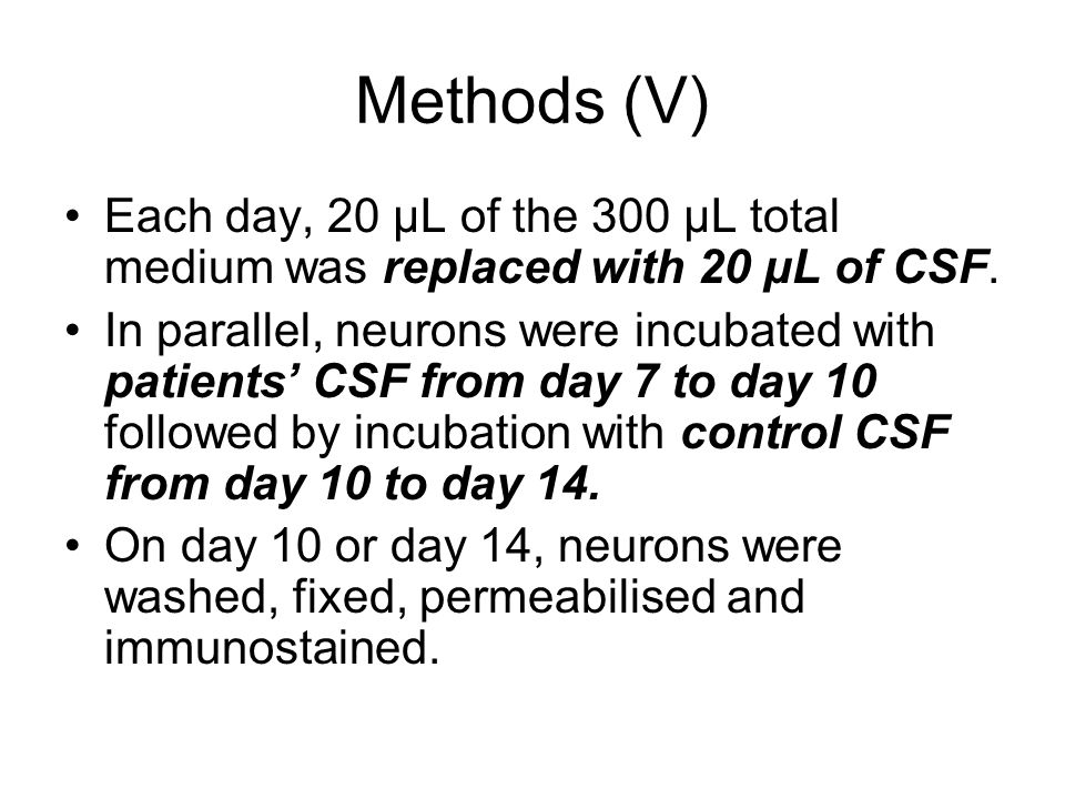 Methods (V) Each day, 20 μL of the 300 μL total medium was replaced with 20 μL of CSF.
