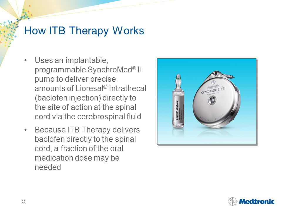 22 How ITB Therapy Works Uses an implantable, programmable SynchroMed ® II pump to deliver precise amounts of Lioresal ® Intrathecal (baclofen injecti
