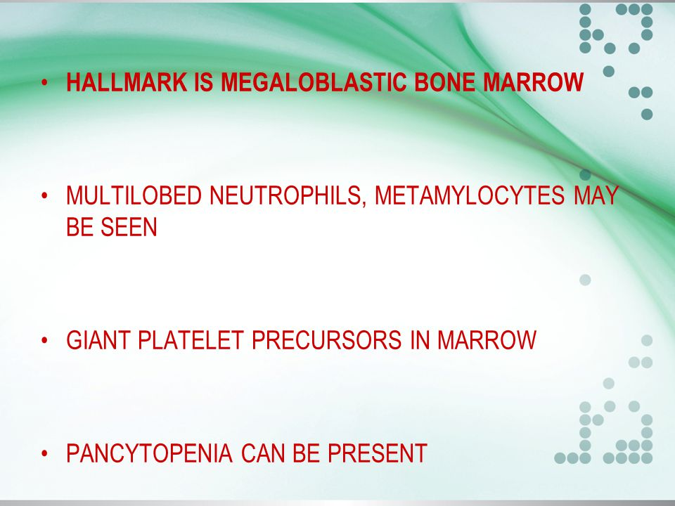 HALLMARK IS MEGALOBLASTIC BONE MARROW MULTILOBED NEUTROPHILS, METAMYLOCYTES MAY BE SEEN GIANT PLATELET PRECURSORS IN MARROW PANCYTOPENIA CAN BE PRESENT