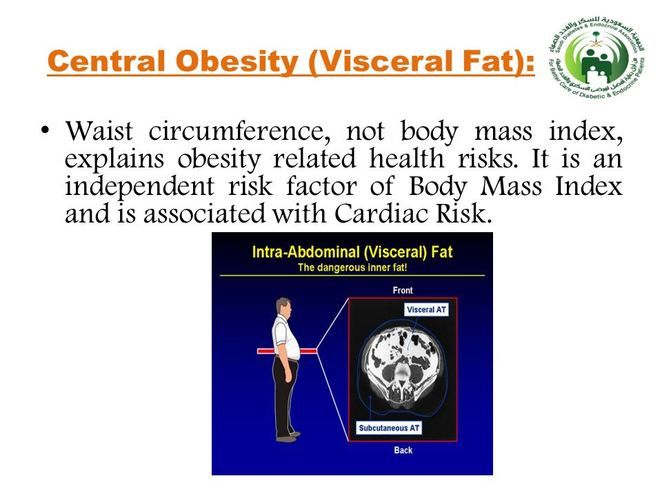 Central Obesity (Visceral Fat): Waist circumference, not body mass index, explains obesity related health risks.