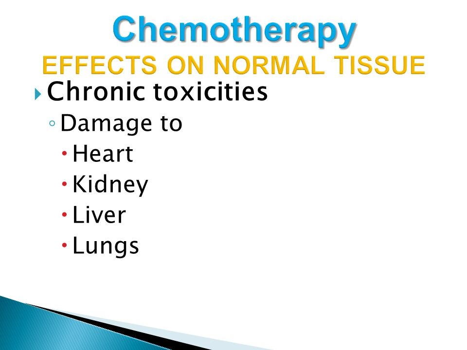  Chronic toxicities ◦ Damage to  Heart  Kidney  Liver  Lungs