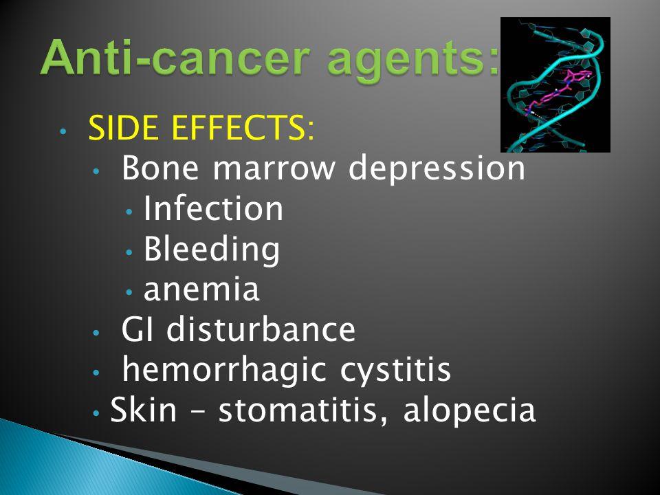 SIDE EFFECTS: Bone marrow depression Infection Bleeding anemia GI disturbance hemorrhagic cystitis Skin – stomatitis, alopecia