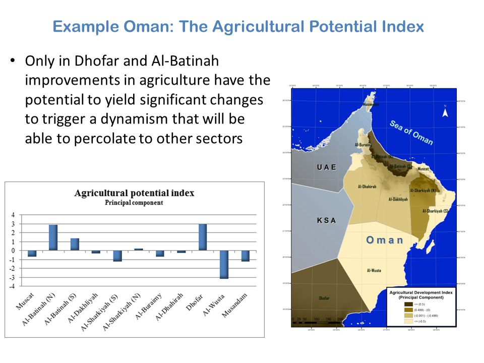 Example Oman: The Agricultural Potential Index Only in Dhofar and Al-Batinah improvements in agriculture have the potential to yield significant chang