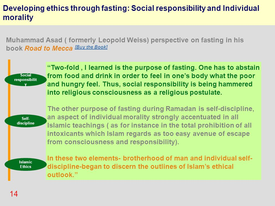 "14 Developing ethics through fasting: Social responsibility and Individual morality ""Two-fold, I learned is the purpose of fasting. One has to abstain"