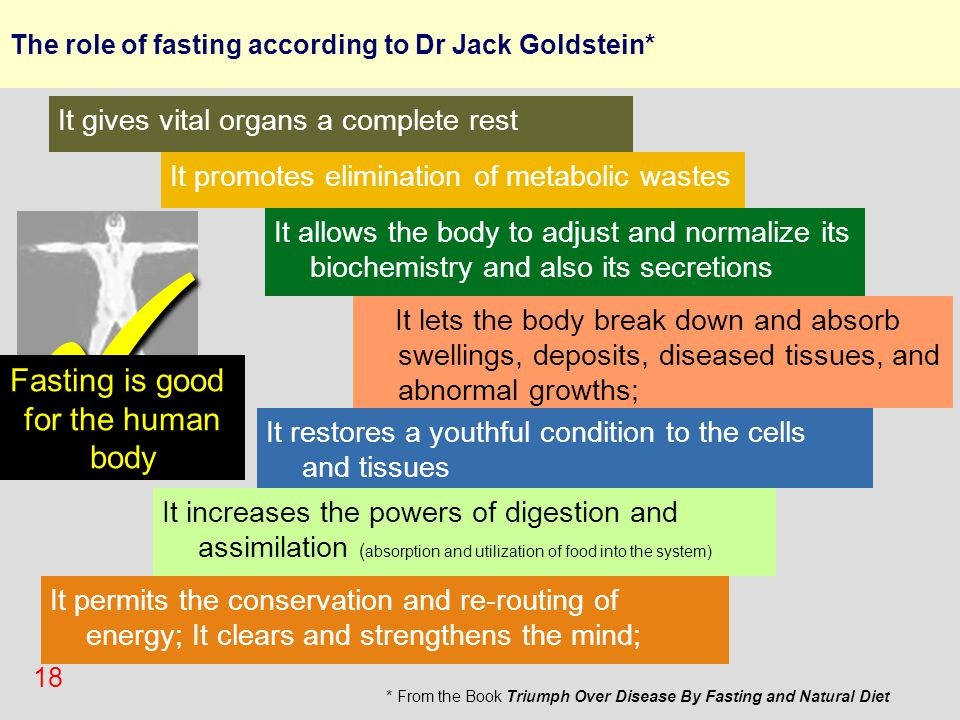 18 The role of fasting according to Dr Jack Goldstein* It promotes elimination of metabolic wastes It allows the body to adjust and normalize its bioc