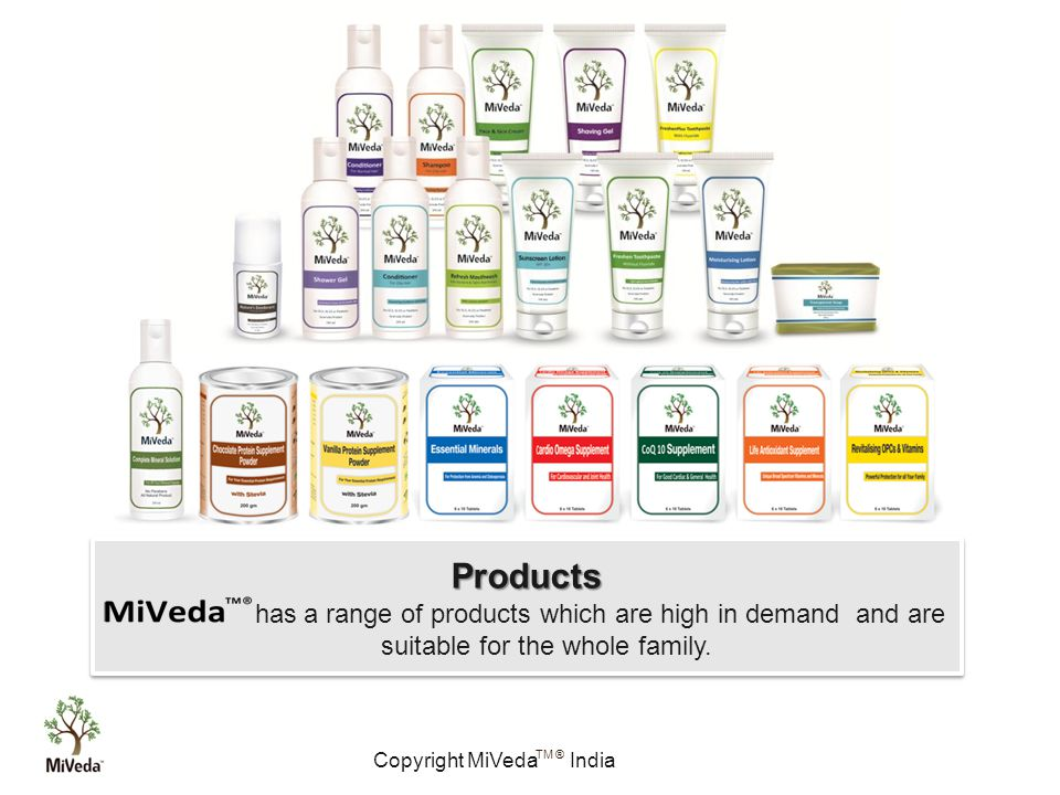 Copyright MiVeda India TM ® 1 Products has a range of products which are high in demand and are suitable for the whole family.