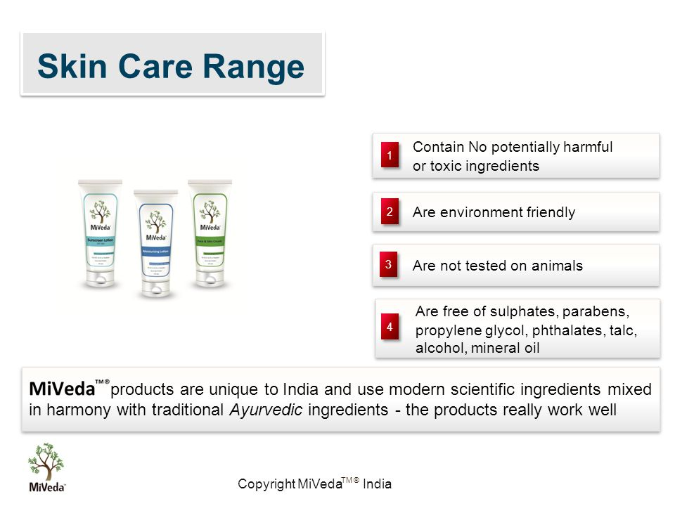 Copyright MiVeda India TM ® Contain No potentially harmful or toxic ingredients Contain No potentially harmful or toxic ingredients Are free of sulphates, parabens, propylene glycol, phthalates, talc, alcohol, mineral oil Are free of sulphates, parabens, propylene glycol, phthalates, talc, alcohol, mineral oil Are environment friendly Are not tested on animals 1 1 2 2 3 3 4 4 products are unique to India and use modern scientific ingredients mixed in harmony with traditional Ayurvedic ingredients - the products really work well Skin Care Range