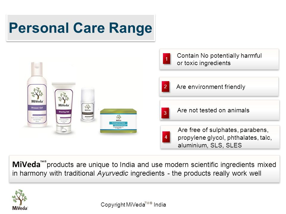 Copyright MiVeda India TM ® Personal Care Range Contain No potentially harmful or toxic ingredients Contain No potentially harmful or toxic ingredients Are free of sulphates, parabens, propylene glycol, phthalates, talc, aluminium, SLS, SLES Are free of sulphates, parabens, propylene glycol, phthalates, talc, aluminium, SLS, SLES Are environment friendly Are not tested on animals 1 1 2 2 3 3 4 4 products are unique to India and use modern scientific ingredients mixed in harmony with traditional Ayurvedic ingredients - the products really work well