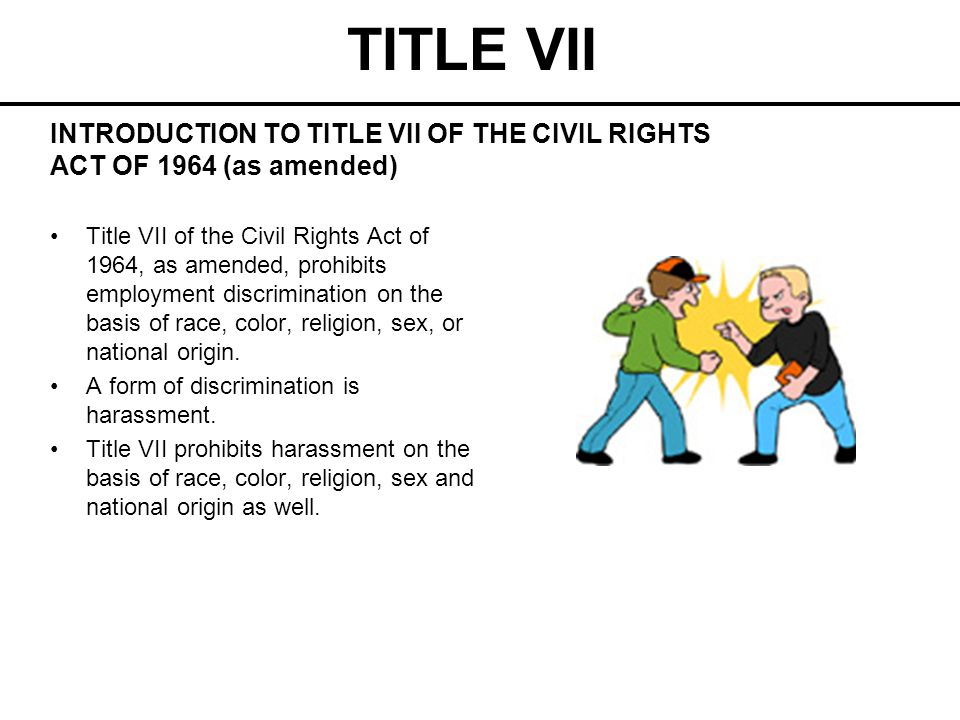 TITLE VII Harassment Harassment on the basis of race and/or color violates Title VII.