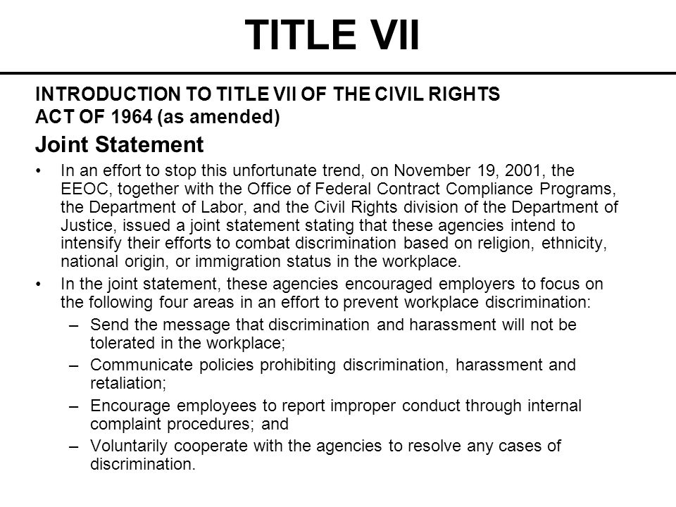 TITLE VII Speak-English-Only Rule A rule requiring employees to speak only English at all times on the job may violate Title VII, unless an employer shows it is necessary for conducting business.