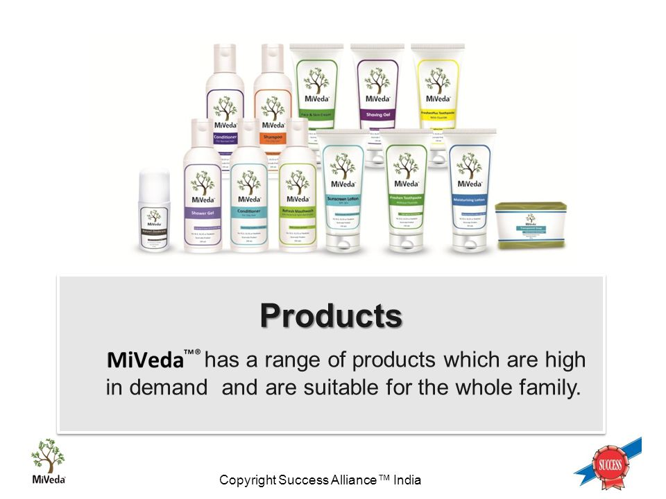 Copyright Success Alliance™ India 1 Products has a range of products which are high in demand and are suitable for the whole family.