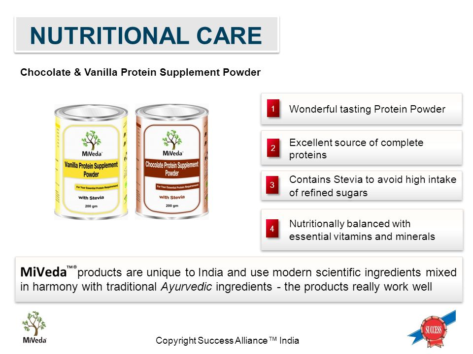 Copyright Success Alliance™ India Wonderful tasting Protein Powder Nutritionally balanced with essential vitamins and minerals Excellent source of complete proteins Contains Stevia to avoid high intake of refined sugars 1 1 2 2 3 3 4 4 products are unique to India and use modern scientific ingredients mixed in harmony with traditional Ayurvedic ingredients - the products really work well Chocolate & Vanilla Protein Supplement Powder NUTRITIONAL CARE