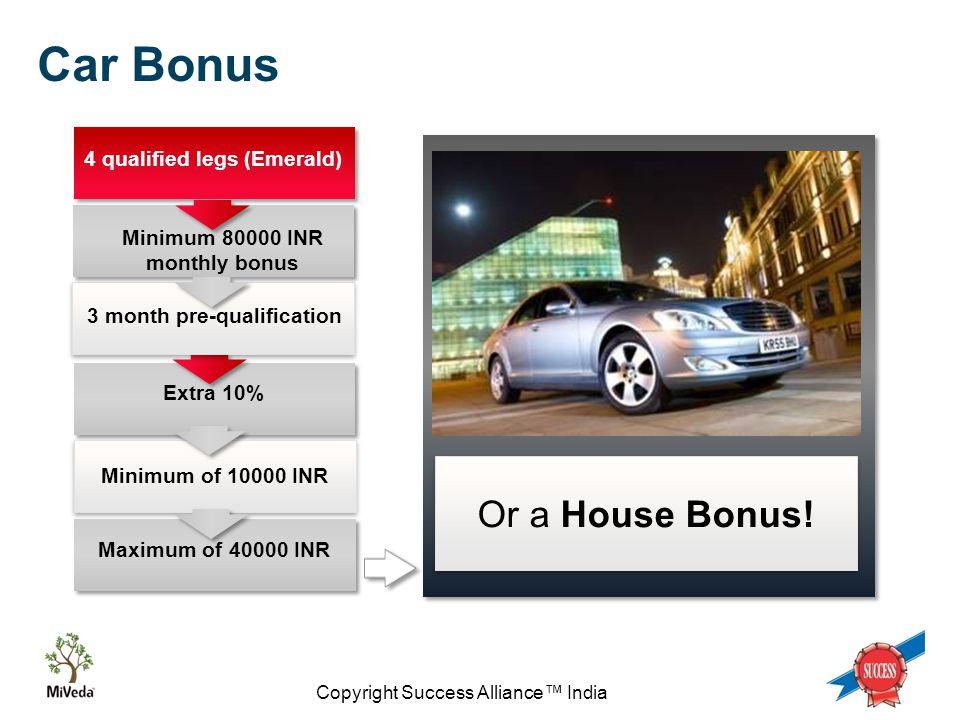 Copyright Success Alliance™ India Extra 10% 4 qualified legs (Emerald) Car Bonus Minimum of 10000 INR Maximum of 40000 INR 3 month pre-qualification Minimum 80000 INR monthly bonus Or a House Bonus!
