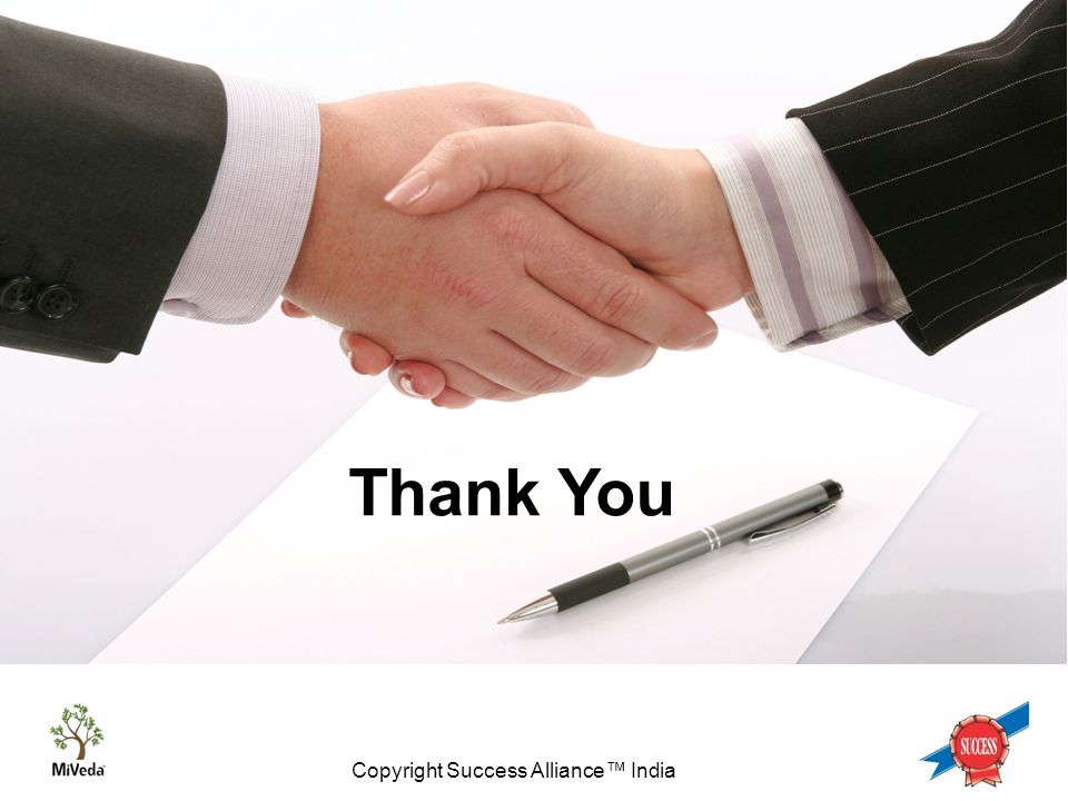 Copyright Success Alliance™ India Thank You