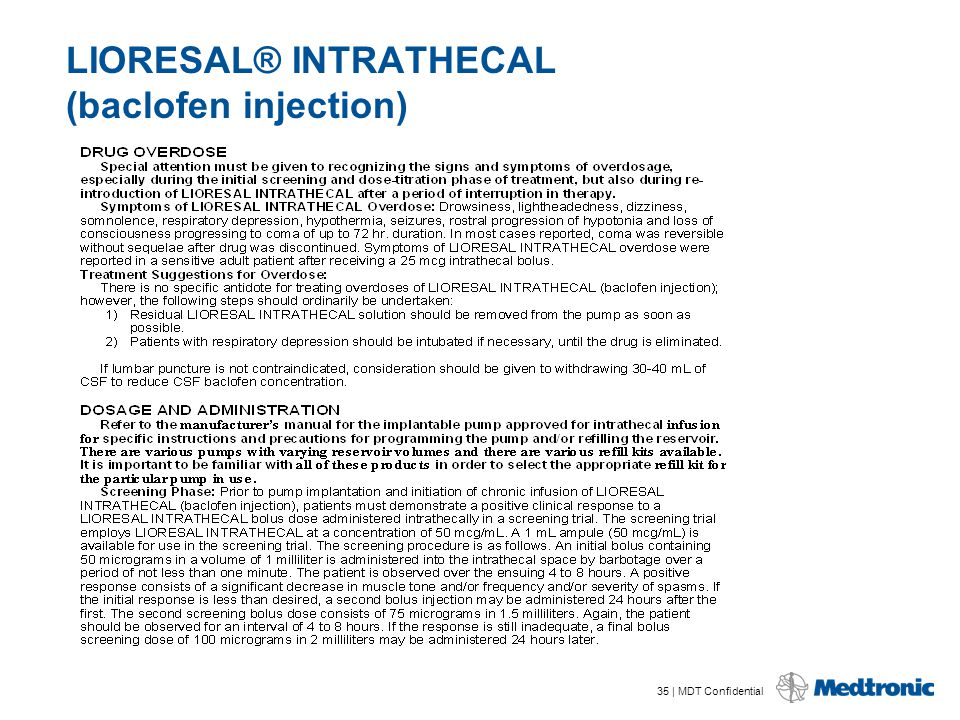 35 | MDT Confidential LIORESAL® INTRATHECAL (baclofen injection)