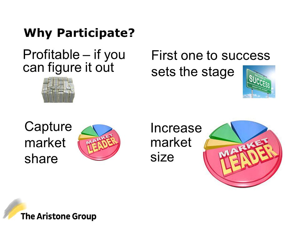Why Participate? Profitable – if you can figure it out First one to success sets the stage Capture market share Increase market size