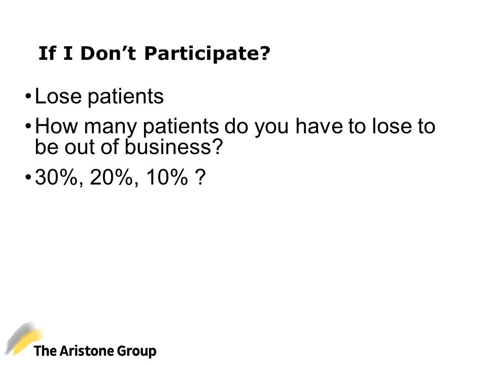 If I Don't Participate? Lose patients How many patients do you have to lose to be out of business? 30%, 20%, 10% ?