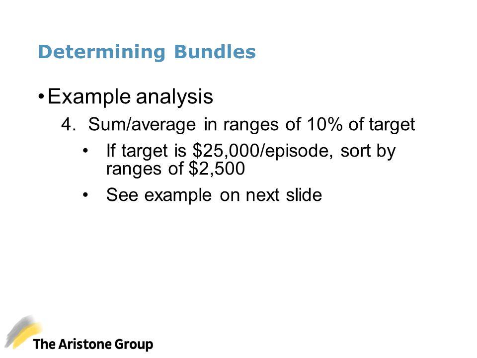 Determining Bundles Example analysis 4.Sum/average in ranges of 10% of target If target is $25,000/episode, sort by ranges of $2,500 See example on ne