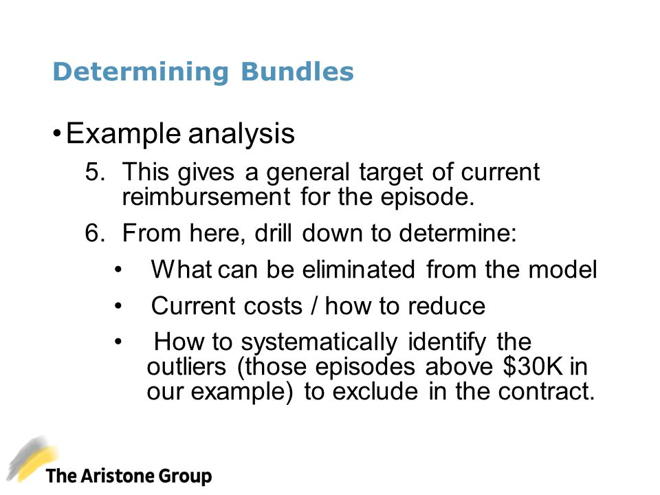 Determining Bundles Example analysis 5.This gives a general target of current reimbursement for the episode. 6.From here, drill down to determine: Wha
