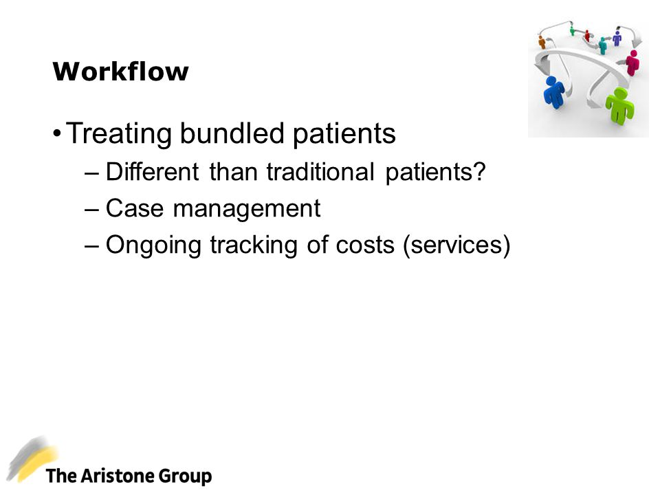 Workflow Treating bundled patients –Different than traditional patients? –Case management –Ongoing tracking of costs (services)