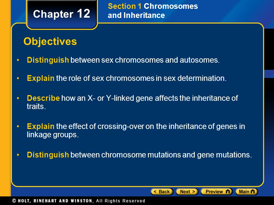 Chapter 12 Objectives Distinguish between sex chromosomes and autosomes. Explain the role of sex chromosomes in sex determination. Describe how an X-