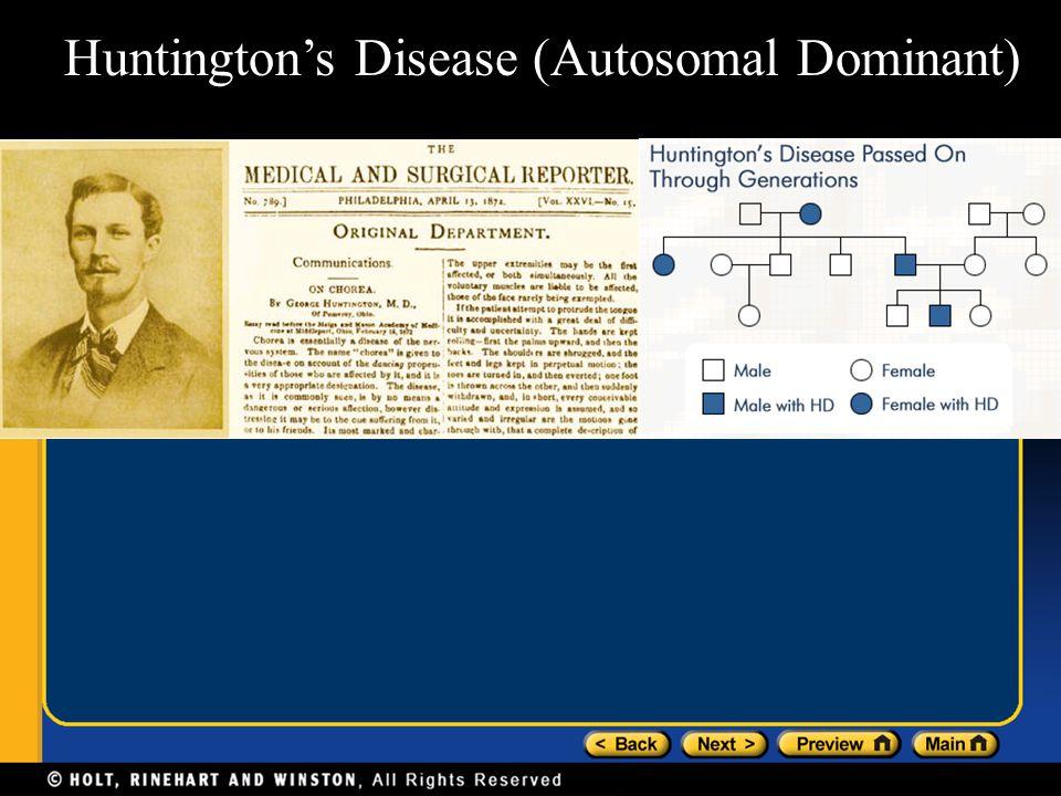 Huntington's Disease (Autosomal Dominant)