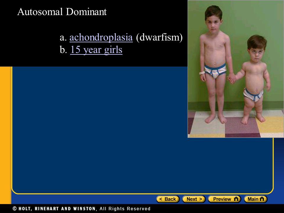 Autosomal Dominant a. achondroplasia (dwarfism)achondroplasia b. 15 year girls15 year girls