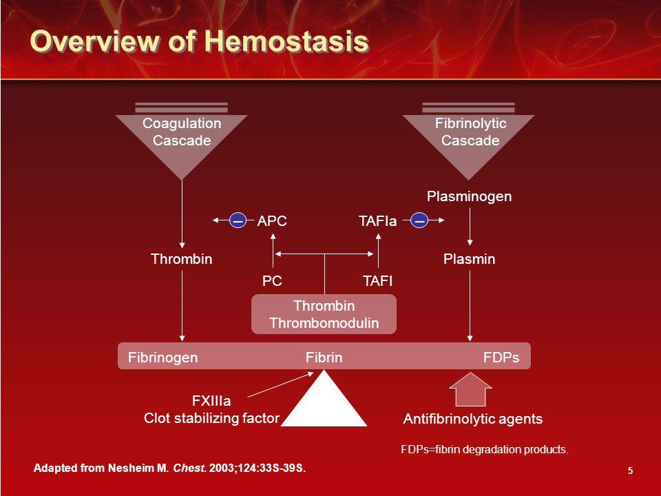 5 Overview of Hemostasis Antifibrinolytic agents Plasminogen ThrombinPlasmin APCTAFIa TAFIPC FibrinogenFibrinFDPs –– Adapted from Nesheim M.