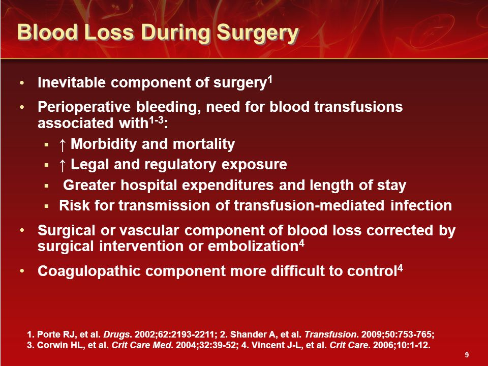 Blood Loss During Surgery Inevitable component of surgery 1 Perioperative bleeding, need for blood transfusions associated with 1-3 :  ↑ Morbidity and mortality  ↑ Legal and regulatory exposure  Greater hospital expenditures and length of stay  Risk for transmission of transfusion-mediated infection Surgical or vascular component of blood loss corrected by surgical intervention or embolization 4 Coagulopathic component more difficult to control 4 1.