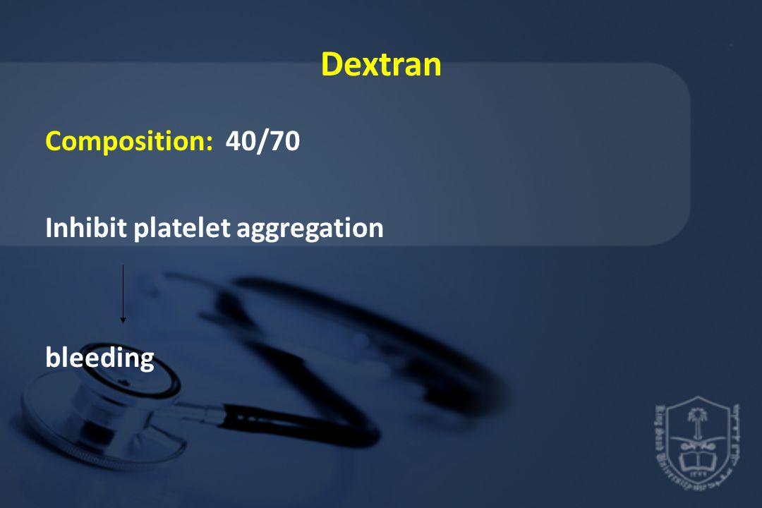 Dextran Composition: 40/70 Inhibit platelet aggregation bleeding