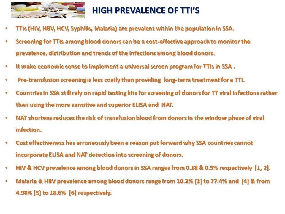 HIGH PREVALENCE OF TTI'S HIGH PREVALENCE OF TTI'S TTIs (HIV, HBV, HCV, Syphilis, Malaria) are prevalent within the population in SSA. TTIs (HIV, HBV,