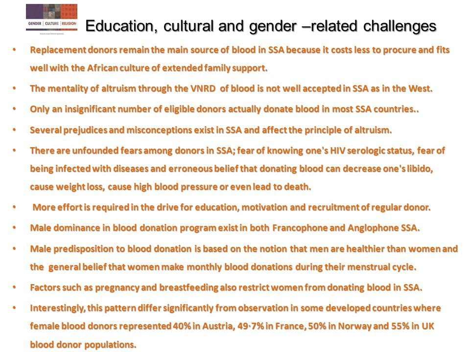 Education, cultural and gender –related challenges Education, cultural and gender –related challenges Replacement donors remain the main source of blo