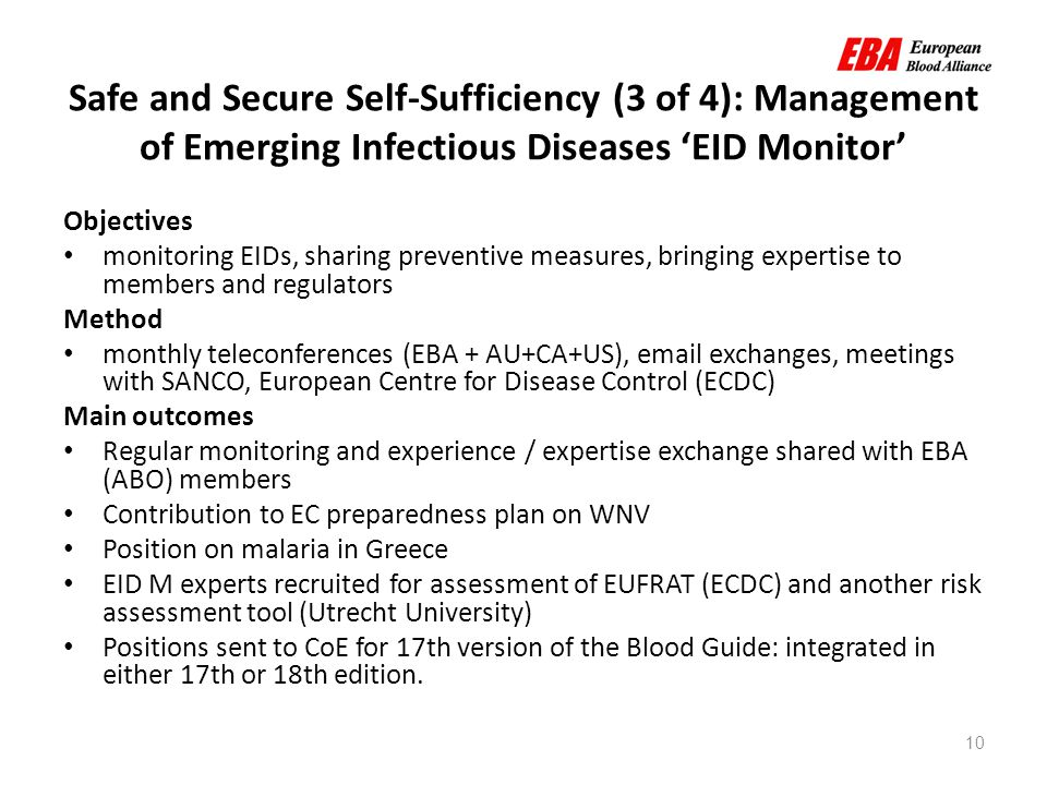 10 Safe and Secure Self-Sufficiency (3 of 4): Management of Emerging Infectious Diseases 'EID Monitor' Objectives monitoring EIDs, sharing preventive