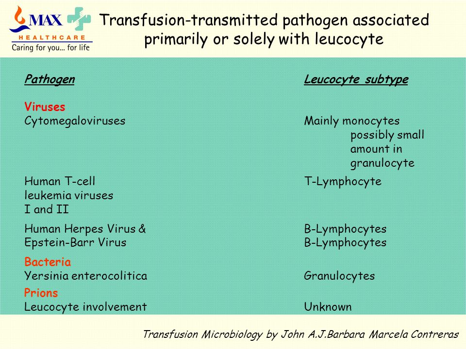 Transfusion-transmitted pathogen associated primarily or solely with leucocyte PathogenLeucocyte subtype Viruses CytomegalovirusesMainly monocytes possibly small amount in granulocyte Human T-cell T-Lymphocyte leukemia viruses I and II Human Herpes Virus &B-Lymphocytes Epstein-Barr VirusB-Lymphocytes Bacteria Yersinia enterocoliticaGranulocytes Prions Leucocyte involvement Unknown Transfusion Microbiology by John A.J.Barbara Marcela Contreras