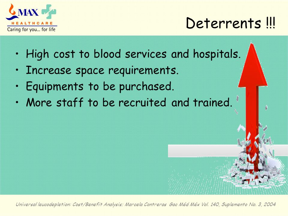 Deterrents !!. High cost to blood services and hospitals.