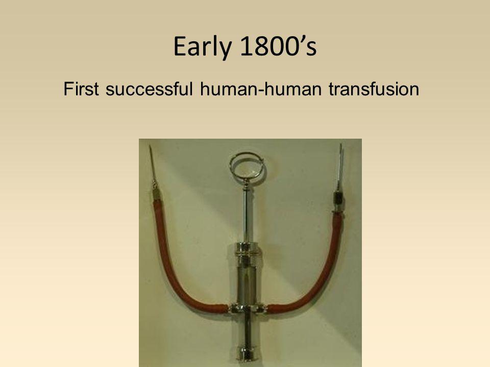 First successful human-human transfusion Early 1800's